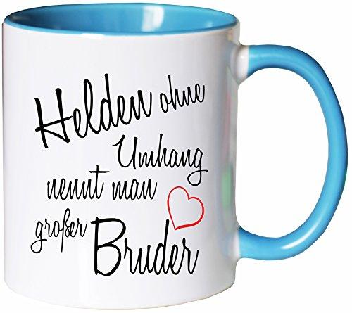 Mister Merchandise Kaffeebecher Tasse Helden ohne Umhang nennt man großer Bruder Schwanger baby Kind Schwangerschaft sohn Teetasse Becher Weiß-Hellblau