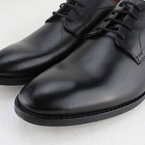 Base London Mens Ivy Smart Vintage Waxy Leather Derby Style Shoes Black