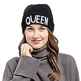 ACVIP Femme Bonnet Tricoté Brodé KING et QUEEN Anglais pour les Amoureux (Queen)