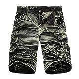 GreatestPAK Pants Cargo-Shorts der Tarnung-Männer beiläufige im Freien Taschen-Strand-Arbeits-Hosen-Hose,Armeegrün,34