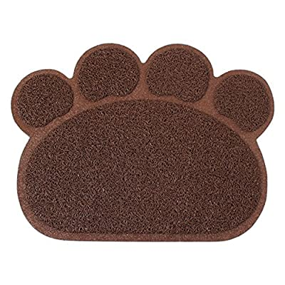 Besthc PVC Pet Dog Cat Puppy Kitten Dish Bowl Food Water Placemat Mat Paw Shape - low-cost UK light shop.
