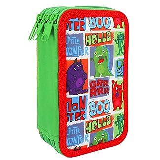 Starplast, Estuche Escolar Plumier, de Tres Cremalleras, Diseño Infantil, 20 cm x 6 cm x 13 cm, para Guardar Pinturas, Reglas y Material, Diseño Hello Boo Monstruos