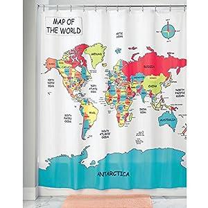 InterDesign Novelty Poly Cortinas de baño modernas con estampado de planisferio, cortinas de ducha de poliéster de 183 x 183 cm, multicolor