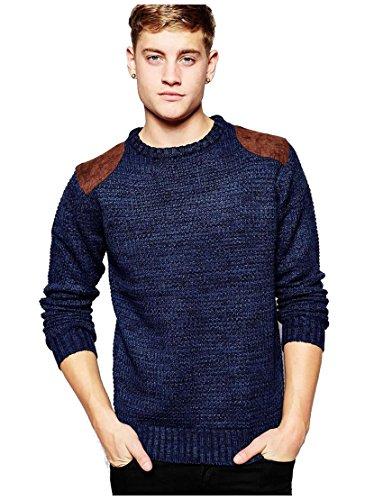Da uomo Brave Soul Chunky Knit maglione girocollo cotone maglione Top S-XL Navy blue