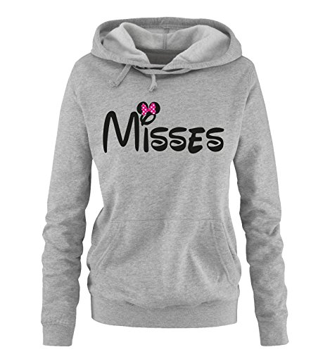 Comedy Shirts - Misses - Minnie - Damen Hoodie - Grau/Schwarz-Pink Gr. (Womens Maus Kostüm)