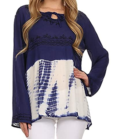 Sakkas T3249 - Carla Tie Dye Embroidered Tunic Top / Blouse - Blue - OS