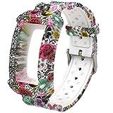 el-move per Samsung Gear FIT2 Pro/FIT2 sm-r360 cinturino in silicone orologio braccialetto cinturino di ricambio per Samsung Gear Fit 2, Gear Fit 2 Pro Smartwatch fitness accessori di robusto Band Wristband (Flower)