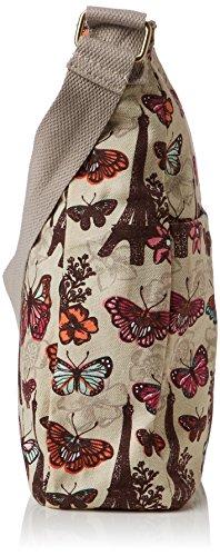 SwankySwans Damen Noel Paris Butterfly Floral Large Umhängetaschen Beige