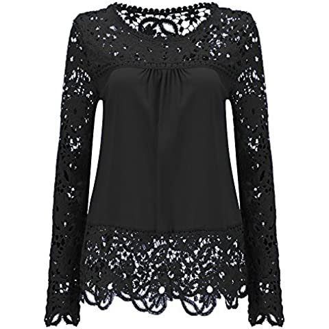 Mujeres 2 en 1 Camisa de Encaje Floral Crochet Top Shoulder Off Lace Shirt