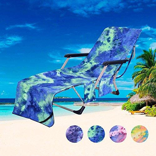 BEST HOME & BABY Mikrofaser-Bezug für Liege, Strandstuhl, Handtuch mit Schulterriemen und Taschen für Strand und Pool, weich und dick, Microfaser, blau, 210L X 75W cm
