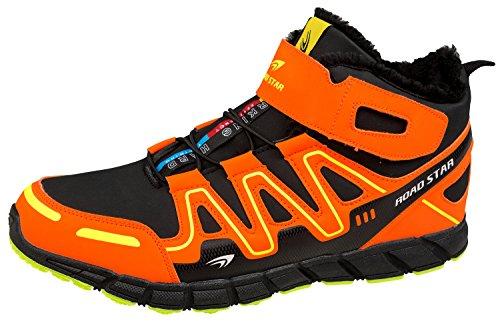 GIBRA® Herren Sneaker, warm gefüttert, schwarz/neonorange, Gr. 47-49 Schwarz/Neonorange