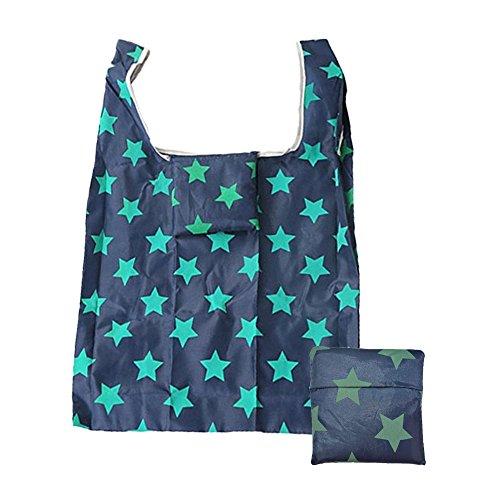 Klome Einkaufstasche Wiederverwendbare kleine Tasche 210D Oxfold Faltbare Tasche mit Schützhülle für Buch, Lebensmittels, Obst und Gemüse 55cm*35cm Kleine Sterne Große Sterne