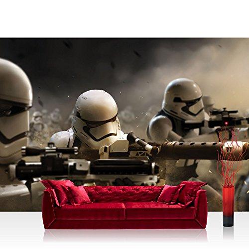 Papel Pintado Fotográfico Premium Plus fotográfico pintado–cuadro de pared–joven pintado Star Wars Armas dibujos animados Ilustración 3d blanco y negro–no. 3132, negro/blanco, Fototapete 254x168cm   PREMIUM Blue Back