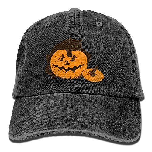 ze auf Kürbis Halloween Einstellbare Vintage Gewaschene Denim Baumwolle Papa Hut Baseball Caps rot ()