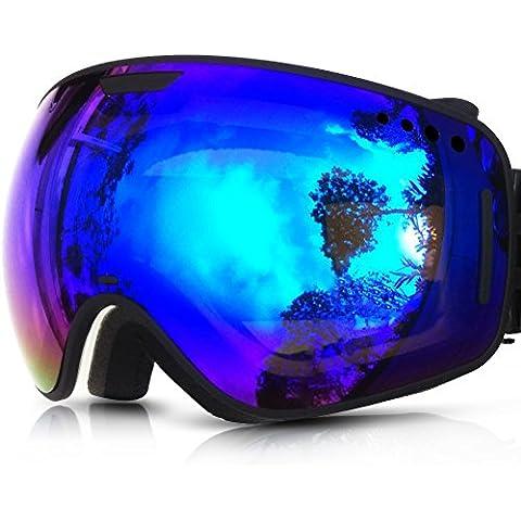 ZIONOR Lagopus X1 motos de nieve Snowboard Skate gafas de esquí con desmontable Lens y Lente Gran Angular Anti-niebla Gran esférico (Negro Azul)