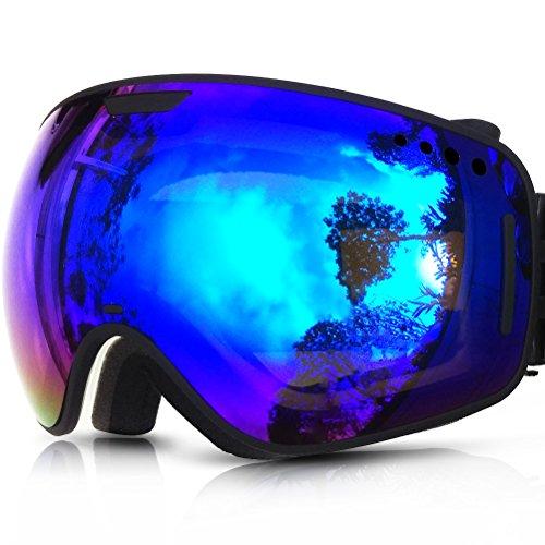 ZIONOR Lagopus X1 Snowmobile Snowboard Skate Skibrille mit abnehmbaren Extra große Linse und Weitwinkel Anti-Fog Big Spherical Skibrille (Blau)