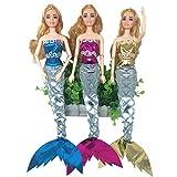 ETbotu Meerjungfrauen-Kostüm BH & Kleid mit Zauberstab für 27,9 cm Barbie-Puppe (nur Kleidung) 3 Sets