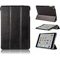 FUTLEX - Custodia smart per iPad Mini 4 in vera pelle e in stile vintage - Nero - Design esclusivo - Posizioni di supporto multiple - Funzione Standby/Riattiva automatica - Artigianale - 100% vera pelle - Massima