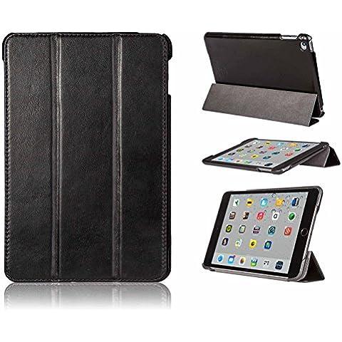 FUTLEX - Custodia per iPad Mini 4 in vera pelle e in stile vintage - Nero - Design esclusivo - Posizioni di supporto multiple - Artigianale - 100% vera pelle - Massima protezione