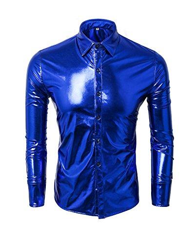 Cusfull Herren Hemd Metallic Glänzend Langarmshirt Glitzer Schlank Fit Kostüm für Nightclub Party Tanzen Disco Halloween Cosplay(blau, (Kostüme Disco Halloween)
