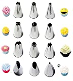 #8: Syga Stainless Steel Russian Piping Nozzles for Cake Decoration (Set of 12)(Silver)