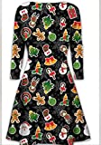 Womens Christmas Swing Dress Girls Gift Candy Ladies Gingerbread Snowman Smock Reinde...