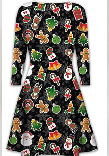 Womens Christmas Swing Dress Girls Gift Candy Ladies Gingerbread Snowman Smock Reindeer Skater Mini Dress Size 8 to 22