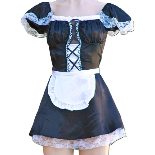 Große Sexy French Maid Uniform Kostüm Hen Party (Maid Naughty Kostüme)