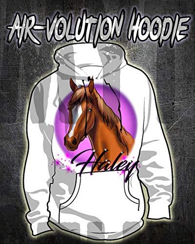 Mythic Airbrush Personalisierte Airbrush Pferd Hoodie Kinder- / Erwachsen-Größen Weiß -