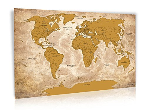 Antik Gold Rubbel Weltkarte - Limited Edition 2017 - XXL Design Rubbel Weltkarte mit 3D Relief-Optik (einzigartiges Berg und Ozean Relief) - Original Wenschow seit 1918 - (Dünn laminiert: beschreib- u. abwischbar / Länderfarbschutz beim Rubbeln)