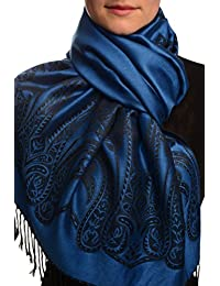 Large Paisley On Oxford Blue Pashmina Feel With Tassels - Bleu ?charpe Taille Unique - 70cm x 180cm