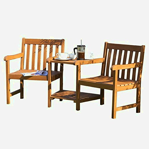 XFACTOR DEAL LIMITED Hardwood Love Seat Wooden Garden Furniture Outdoor Companion Set Patio Outside 2 Seater Modern Small Luxury Balcony &E Book