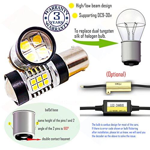 Preisvergleich Produktbild Wiseshine 3000k ba15d led birne lampen DC9-30v 3 Jahre Qualitätssicherung (2 Stück) Hoch- / Abblendlicht ba15d 22smd 3030 warmweiß