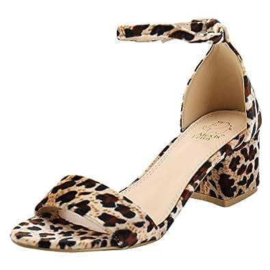 Leopard Print Damen Knöchelriemchen Sandalen mit Blockabsatz Braun 38 EU Alexis Leroy 8YxrnwWqsE