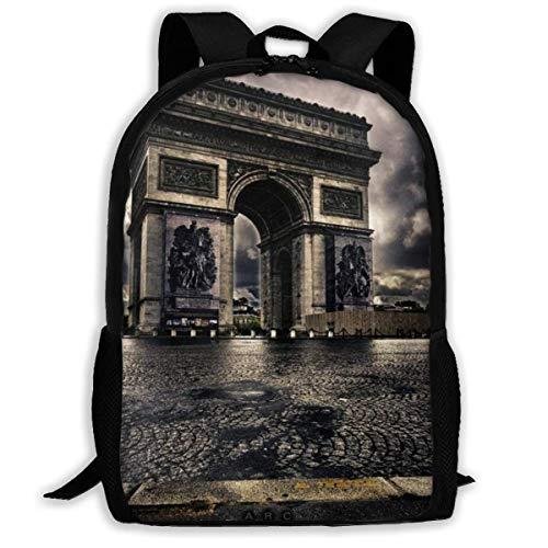 Schulrucksack, Triumphal Arch In Paris School Backpack Knapsack Cute Daypack Children Rucksack for Boys Girls - Olive Arch