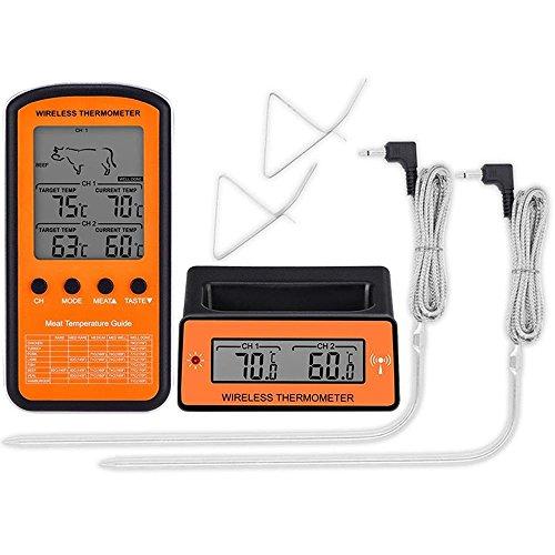 WSHA Wireless Remote Dual Probe Digital Kochen Fleisch Essen Ofen Thermometer Zum Grillen Raucher BBQ Fleisch Fork Thermometer, Rindfleisch/Türkei / Steak Grillen Braten Grill Temperatur Alarm -