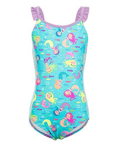 iDrawl Blau Meerjungfrau Badeanzug Einteiler Bademode Mädchen Sommer Beachwear UPF 50+,Größe L