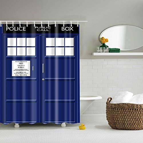 XHWL767 Blaues doppeltes Tür-weißes Fenster Badezimmervorhang 180x180CM + 12 Haken - Meer Duschvorhang-sets