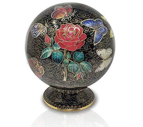 Memorable Urns Urne für Asche mit Schmetterlingen auf Rose, Globe, für Erwachsene