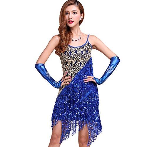 4c098c8e9cd Moresave Damen Spaghetti Latein Salsa Tanzkleid Ballroom Funkeln Paillettes  Quaste Dancewear