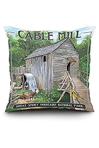 Cable Mill - Great Smoky Mountains National Park, TN (18x18 Spun Polyester Pillow Case, White Border)