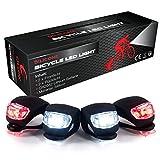 Schwarzes Silikon Fahrradlicht LED Set - 4er Pack Fahrradbeleuchtung (2 Frontlichter & 2 Rücklichter), Wasserdichte Sicherheitsbeleuchtung, Silikonleuchtenset inklusive Batterie, Einfache Montage -