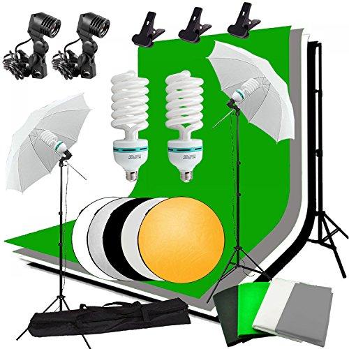 Abeststudio Kit d'éclairage parapluie continu et réflecteur de lumière 5-en-1 60cm pour studio photo vidéo, 2 parapluie diffuseur+1 support de fond+3 tissu de fond+2 ampoule fluorescente 135W 5500K