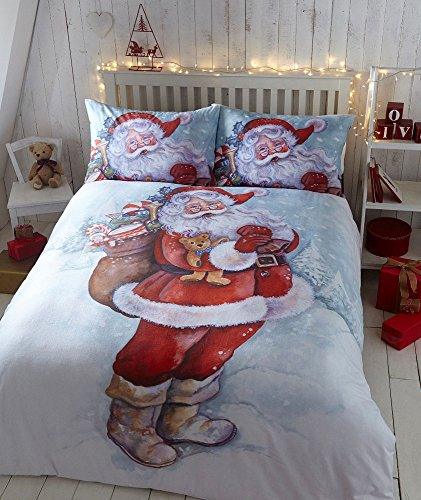DUVET COVER SET – Traditional Father Christmas Quilt Cover Bed Set (Superking)