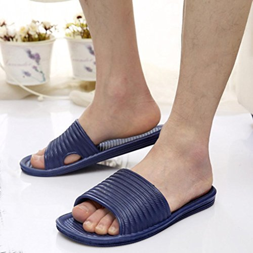 Webla Man Stripe Flat Bath Slippers Summer Sandals Indoor & Outdoor Slippers Navy