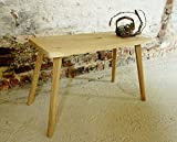 Rustikaler Hocker Schemel Blumenbank massiv Eiche sandgestrahlt großer Holz-Hocker Vintage Landhausstil Breite B 66 x T 31 x H 43 cm Handmade in Germany Unikat
