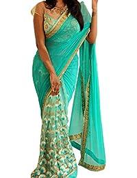 Swara Fashion Women's Georgette Thread Work Saree(SFP-161_Cyan)