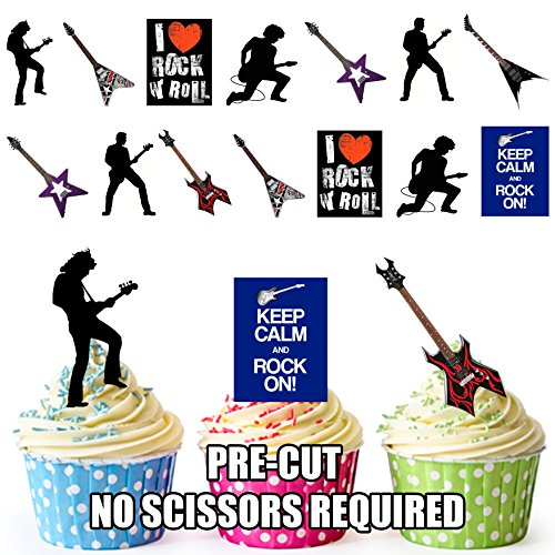 Keep Calm and Rock on/Gitarre und Rock Star Silhouetten Party Pack - essbar Stand-up Cupcake Topper (36 Stück)
