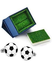 Gemelos para Hombre Fútbol Pelota Réplica Balón de Fútbol + Caja de Regalo de Césped Sintético