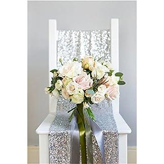 yzeo lentejuelas 13«* 72» centro de mesa para bodas, eventos casa plata DE LENTEJUELAS einfachklever/Runners